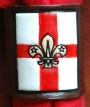EMBOSSED ST GEORGE FLAG SCOUT LEATHER WOGGLE