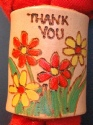 PYROGAPHY THANK YOU RED N YELLOW FLOWER WOGGLE