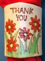 PYROGAPHY THANK YOU RED FLOWER WOGGLE